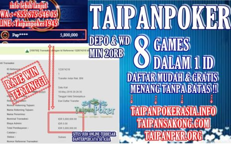 Rate Win Tinggi Domino99 Di TaipanPoker